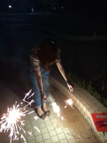 出会い系で会った女の子と花火